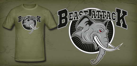 Design T-Shirt  Beast Attack Elefant