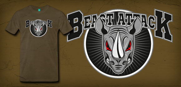 Design T-Shirt  Beast Attack Rhino